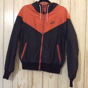 Vintage Nike Large Orange and Black Windbreaker